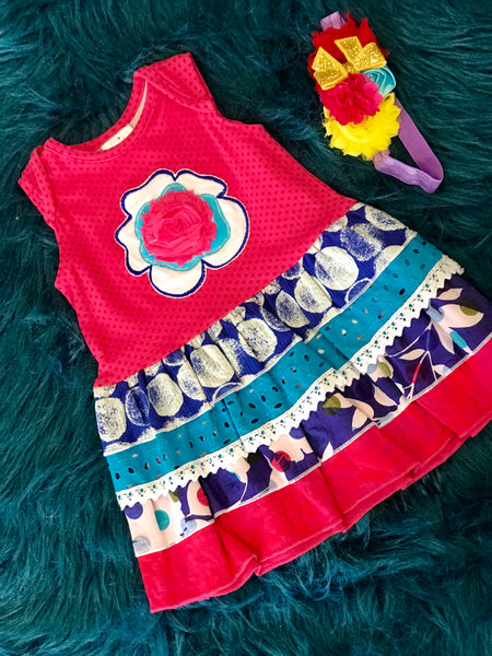 ZaZa Couture Summer Roki & Zoi Hot Pink/Blue Flower Dress - JEN'S KIDS BOUTIQUE