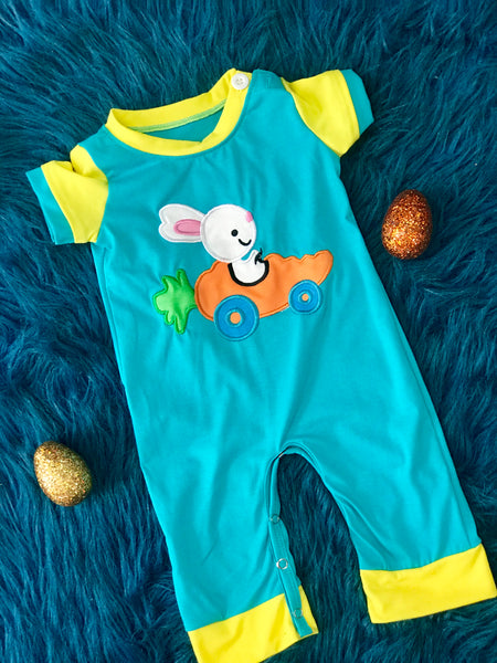 2019 Easter Boys Blue W/Yellow Sleeves And Bunny In A Carrot Car Romper - JEN'S KIDS BOUTIQUE