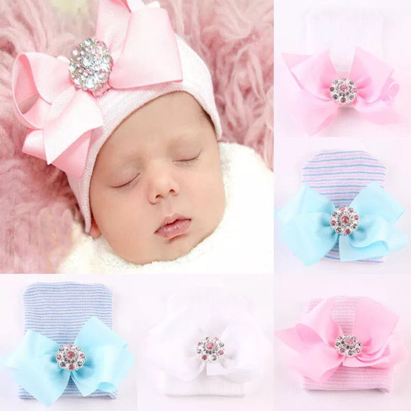 Infant Cap with Crystal Button White - JEN'S KIDS BOUTIQUE