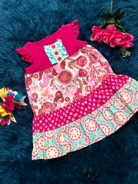 Peaches N Cream Hot Pink/ Blue Flower Dress No Headband - JEN'S KIDS BOUTIQUE