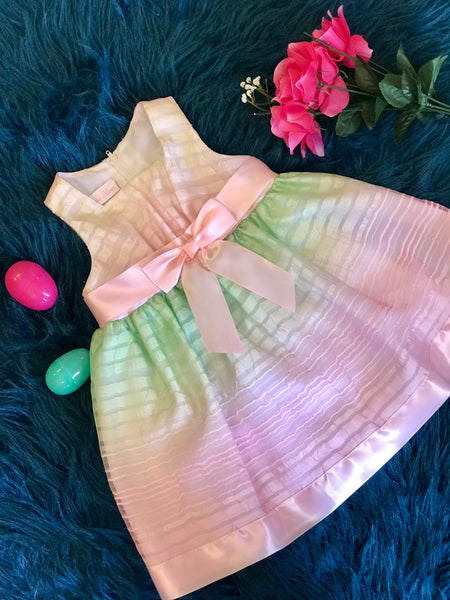 Spring & Summer Bonnie Jean Pink Multi Dress - JEN'S KIDS BOUTIQUE