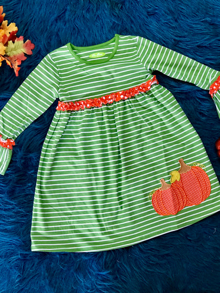 New Fall Be Mine Girls Stripped Pumpkin Applique Dress - JEN'S KIDS BOUTIQUE