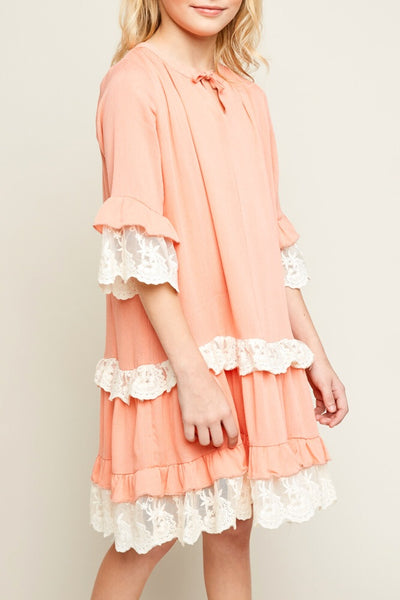 Back To School Little Miss Pre-Teen Hayden Peach Sheer Lace Tunic Dress With Front Tie - JEN'S KIDS BOUTIQUE