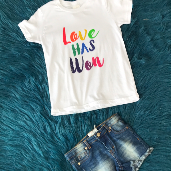 White Love Has Won Rainbow Shirt Yth & Adult