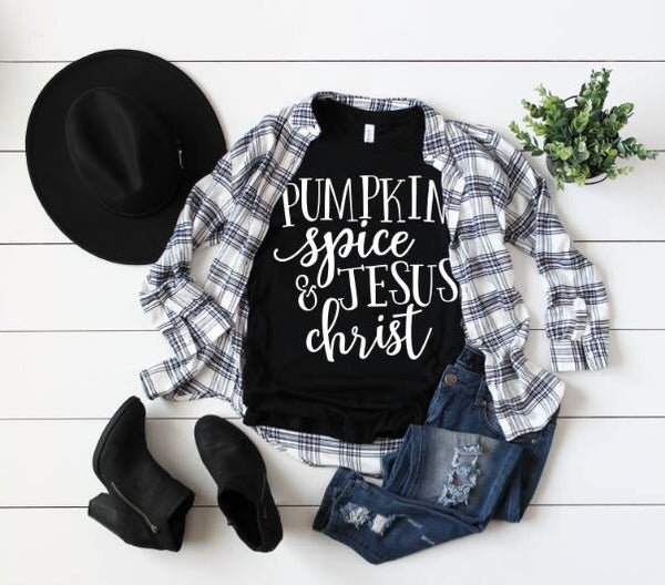 Fall Women's  Pumpkin Spice & Jesus Christ On Black Bella Crew Neck - JEN'S KIDS BOUTIQUE
