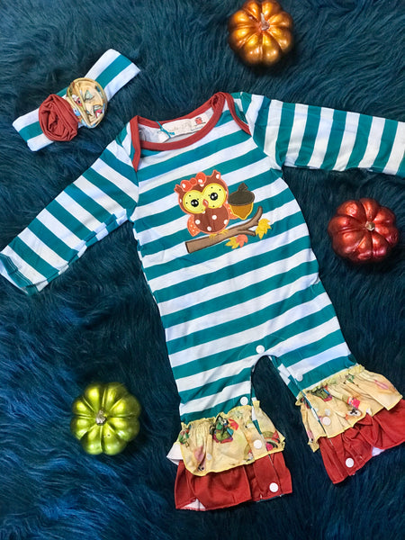 Fall Vintage Owl Infant Romper - JEN'S KIDS BOUTIQUE