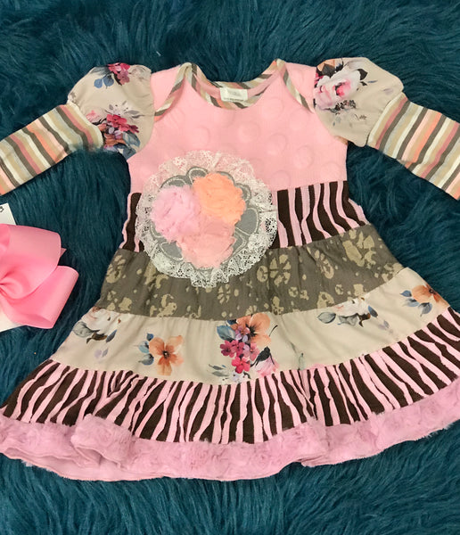 Fall Roki & Zoi By ZaZa Couture Pink And Gray Dress CLF - JEN'S KIDS BOUTIQUE