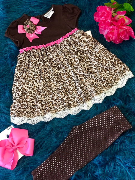 Adorable Fall Cheetah & Pink Print Dress Pant Set - JEN'S KIDS BOUTIQUE