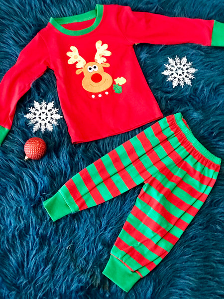Christmas Reindeer Stripped Pjs Boy or Girl CH - JEN'S KIDS BOUTIQUE