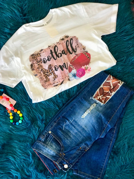 Fall Fun Cheetah Print Football Mom T-Shirt - JEN'S KIDS BOUTIQUE