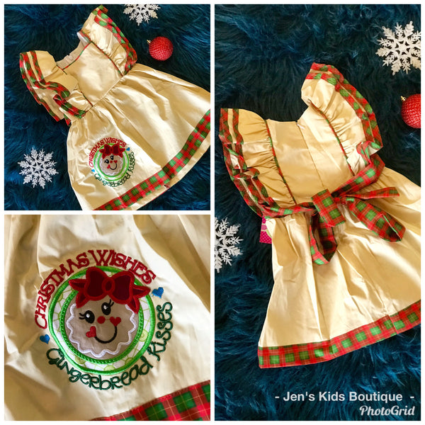 2018 Perfect Tan Gingerbread Man Mary Kate Sleeveless Dress - JEN'S KIDS BOUTIQUE