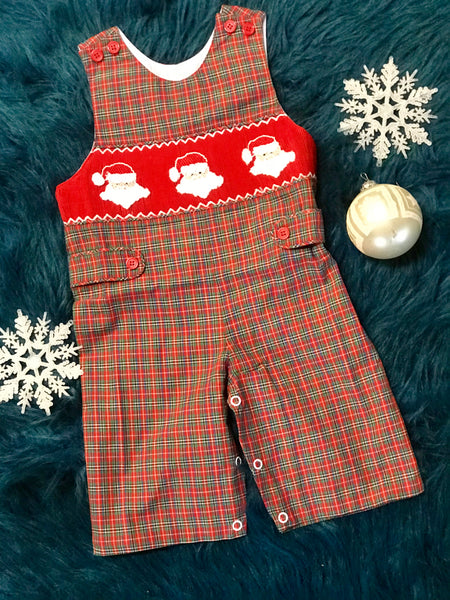 2018 Christmas Boys Plaid Smocked Santa Long Jhon - JEN'S KIDS BOUTIQUE