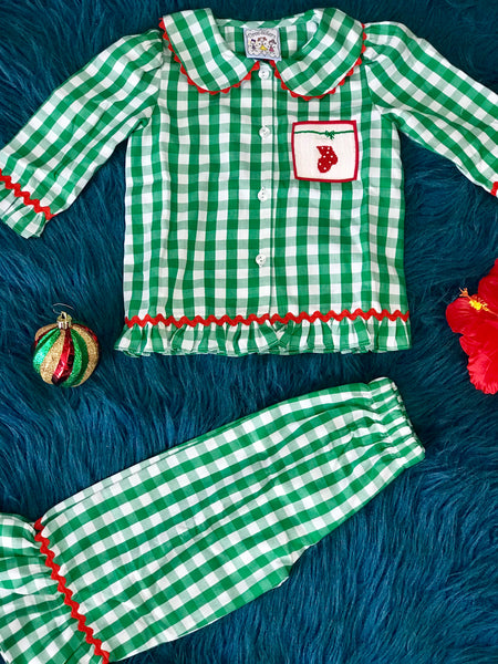 New Christmas Three Sisters Green Plaid Stocking Girls Pajamas C - JEN'S KIDS BOUTIQUE