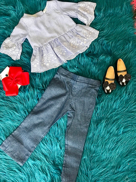 2018 Fall Stripped Vintage Shirt with Denim Pant Set - JEN'S KIDS BOUTIQUE
