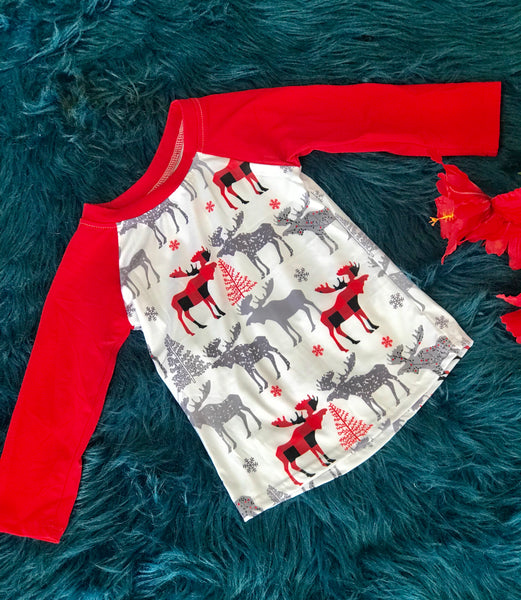New Fall Let's Moose Around Boys Long Sleeve Shirt - JEN'S KIDS BOUTIQUE