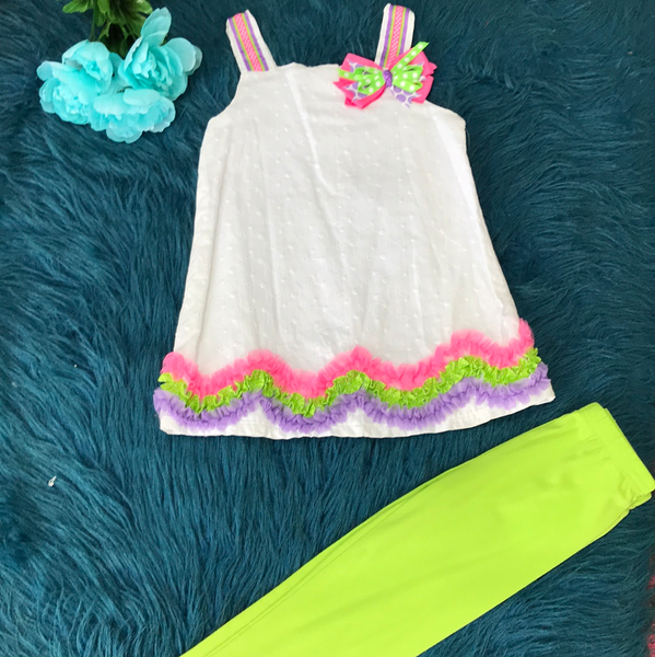 Rare Editions White W/ Pink Purple & Green Ruffle Legging Set CLS - JEN'S KIDS BOUTIQUE