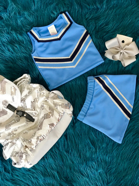 Fall Cheer Set Columbia Blue & Silver - JEN'S KIDS BOUTIQUE
