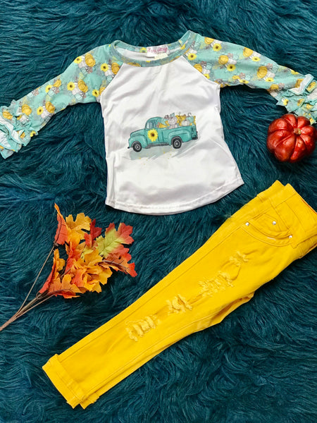 Fall Pumpkin Raglan Long Sleeve Shirt - JEN'S KIDS BOUTIQUE
