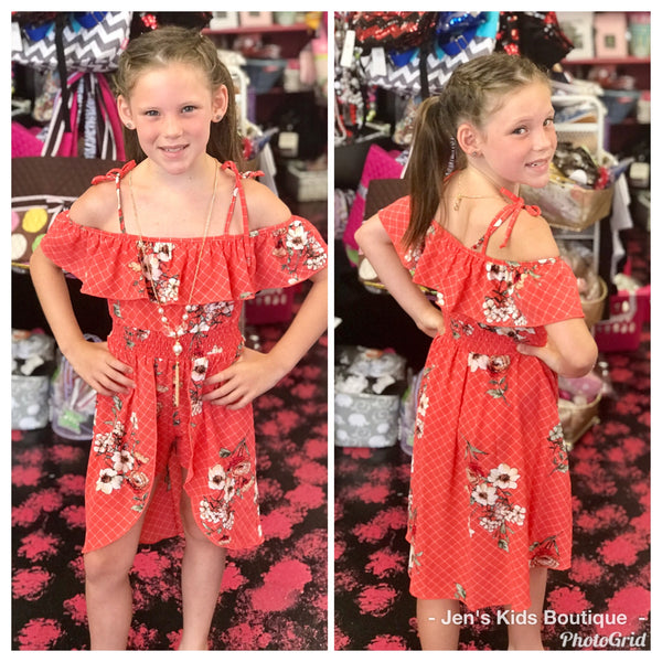 2019 Summer Coral Floral Short Fly Away Girls Romper. - JEN'S KIDS BOUTIQUE