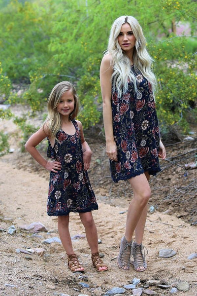 "Spring Mommy & Me Women""s Navy Flower Neck Floral Dress - JEN'S KIDS BOUTIQUE"