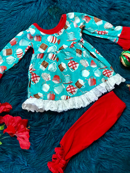 Christmas Hot Cocoa Teal & Red Pant Set CH - JEN'S KIDS BOUTIQUE