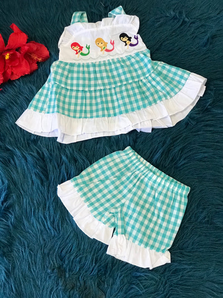 Summer Fun Embroidered Plaid Mermaid Ruffle Shorts Set - JEN'S KIDS BOUTIQUE