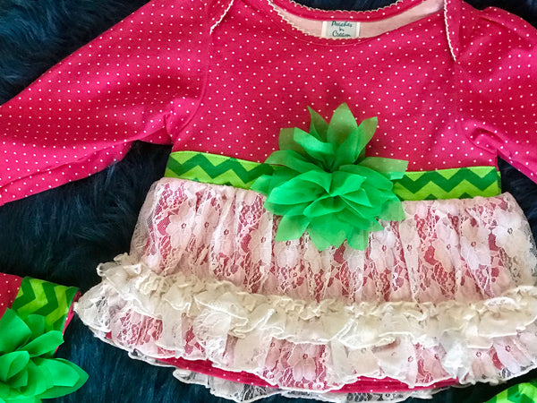 Peaches N Cream Holiday Christmas Hot Pink/Green Set - JEN'S KIDS BOUTIQUE