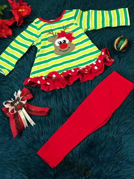 New Christmas Girls Multi Green & Red Rudolph Red Nose Reindeer Set C - JEN'S KIDS BOUTIQUE