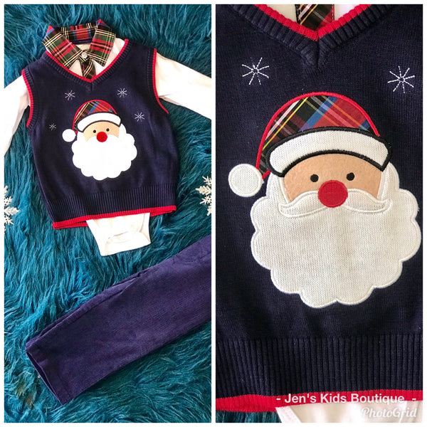 Bonnie Jean Boys Navy Blue Santa Sweater Pant Set CH - JEN'S KIDS BOUTIQUE