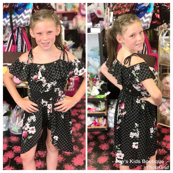 2019 Summer Black Floral Short Fly Away Girls Romper. - JEN'S KIDS BOUTIQUE