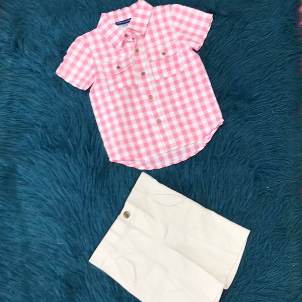 Matts Scooter Pink Plaid Short Set