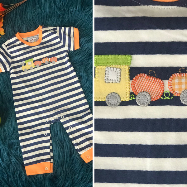 Three Sisters Fall Thanksgiving Pumpkin Train Fun Applique Boys Romper - JEN'S KIDS BOUTIQUE