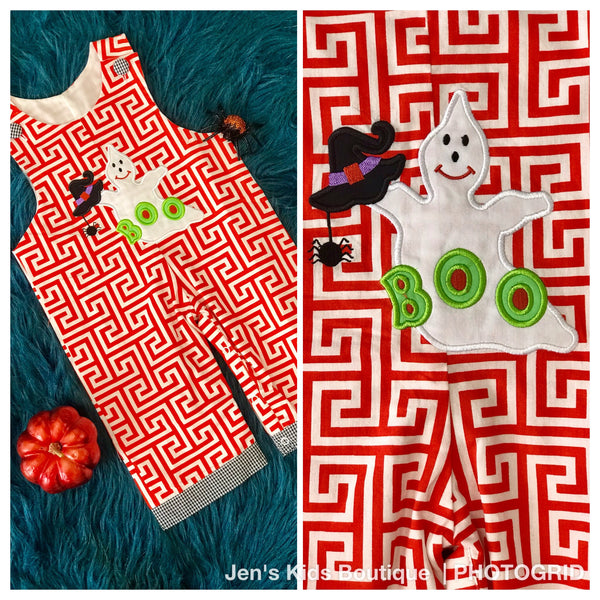 B & A  Cute Ghost Applique Halloween Boys Romper H - JEN'S KIDS BOUTIQUE
