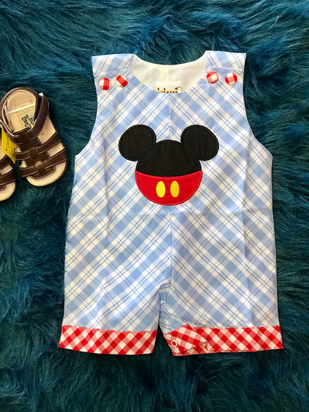 2018 Spring Adorable Boys Mickey Mouse Applique Romper - JEN'S KIDS BOUTIQUE