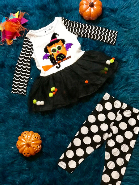 Rare E  Halloween White & Black Owl Pom Pom Tutu Set H - JEN'S KIDS BOUTIQUE