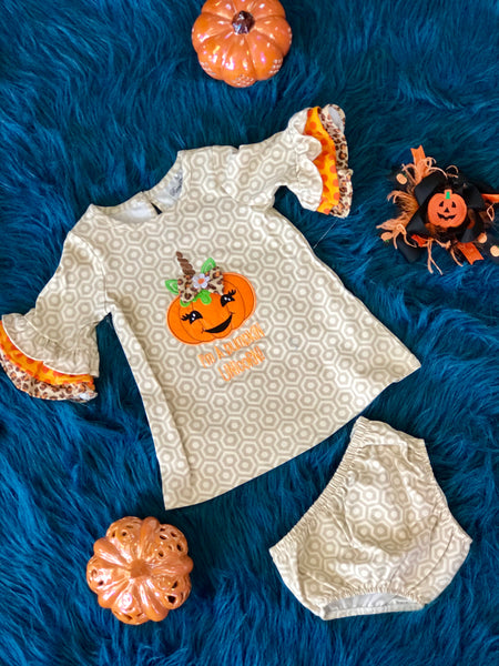 Fall Halloween I'm A Pumpkin Unicorn Infant Set With Bloomers - JEN'S KIDS BOUTIQUE