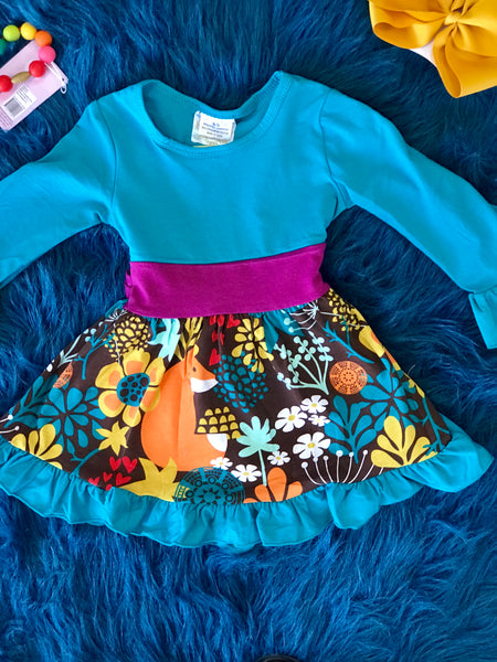 Fall Blue Floral Fox Fun Long Sleeve Dress C - JEN'S KIDS BOUTIQUE