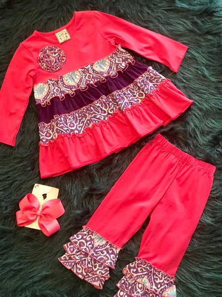Three Sisters Hot Pink And Purple Ruffle Pant Set - JEN'S KIDS BOUTIQUE