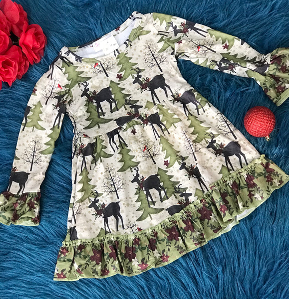 Clover Cottage Christmas Tree & Reindeer Ruffle Dress CH - JEN'S KIDS BOUTIQUE
