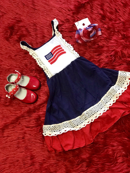 2019 Summer 4th Of July Adorable Vintage Flag Dress - JEN'S KIDS BOUTIQUE