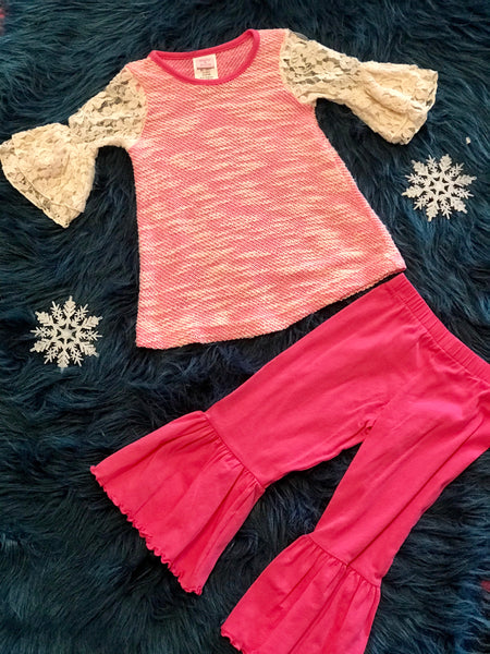 Molly & Millie By Peaches N Cream Pink Lace Ruffle Pant Set - JEN'S KIDS BOUTIQUE