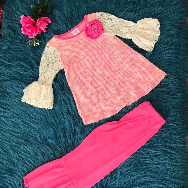 Molly & Millie By Peaches N Cream Pink Flower Pant Set - JEN'S KIDS BOUTIQUE