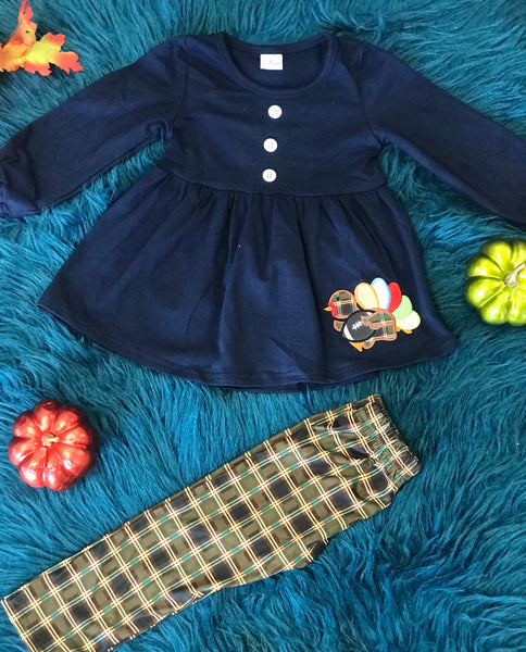 New Fall Thanksgiving Navy & Plaid Turkey Foot Ball Pant Set - JEN'S KIDS BOUTIQUE