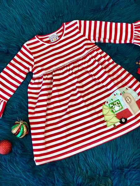 New Christmas Adorable Three Sisters Camping Fun Stripped Applique Bell Sleeve Dress - JEN'S KIDS BOUTIQUE
