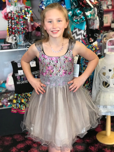 2018 Spring Elegant Silver Rose Sleeveless Dress - JEN'S KIDS BOUTIQUE
