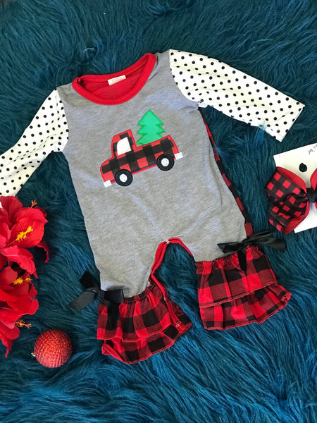 New Christmas Girls Vintage Plaid Truck Ruffle Romper C - JEN'S KIDS BOUTIQUE