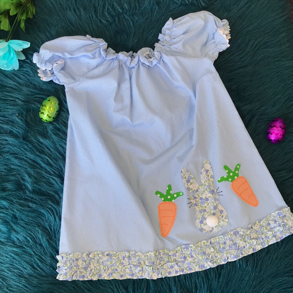 Three Sisters Blue Plaid Bunny & Carrot Dress - JEN'S KIDS BOUTIQUE