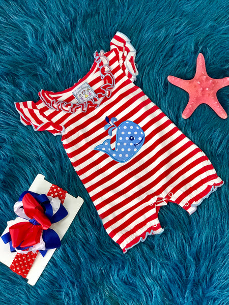 2019 Spring & Summer Three Sisters Stripped Polka Dot Whale Girls Romper - JEN'S KIDS BOUTIQUE