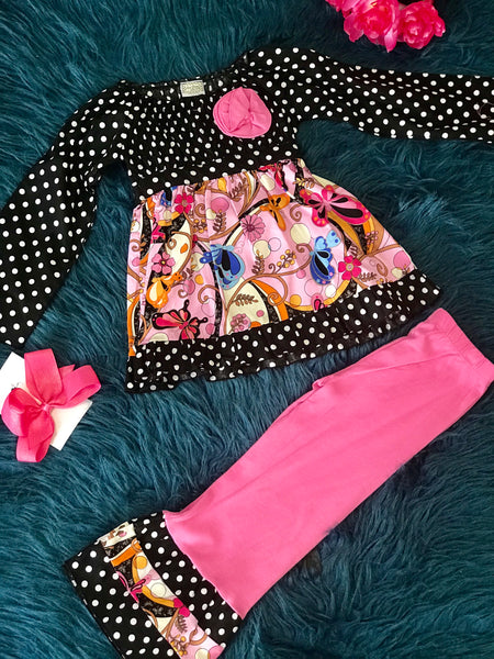 Ann Loren Paisley Mixed Brown &  Pink Pant Set - JEN'S KIDS BOUTIQUE