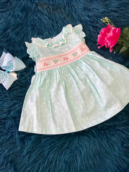 2019 Spring & Summer Aqua Blue Sweet Polka Dot & Flowers Infant Dress - JEN'S KIDS BOUTIQUE
